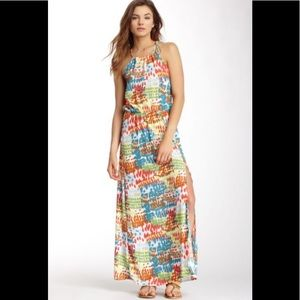 Love Stitch Abstract Spotted Print Slit Maxi Dress